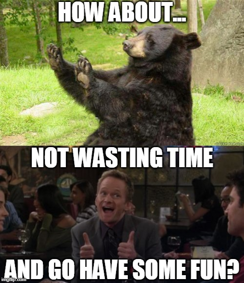 HOW ABOUT... NOT WASTING TIME AND GO HAVE SOME FUN? | image tagged in how about no bear | made w/ Imgflip meme maker