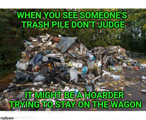 Hoarder's anonymous |  WHEN YOU SEE SOMEONE'S TRASH PILE DON'T JUDGE; IT MIGHT BE A HOARDER TRYING TO STAY ON THE WAGON | image tagged in hoarders,hoarding,trash,rubbish,garbage | made w/ Imgflip meme maker