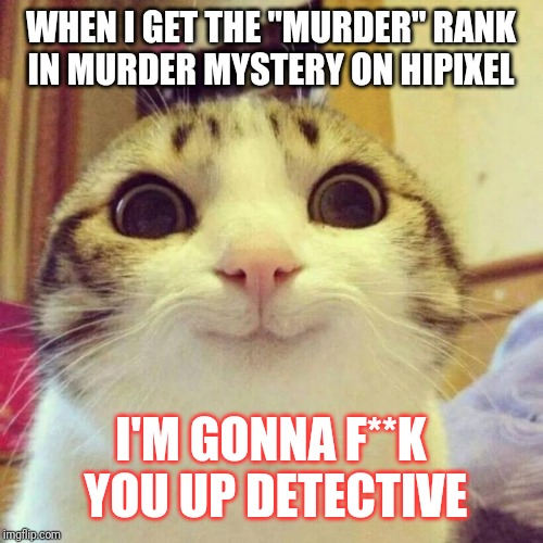 "Smiling Cat Meme | WHEN I GET THE ""MURDER"" RANK IN MURDER MYSTERY ON HIPIXEL I'M GONNA F**K YOU UP DETECTIVE 