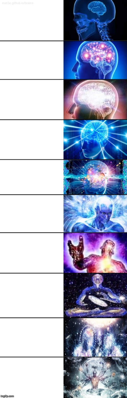 10-Tier Expanding Brain | image tagged in 10-tier expanding brain | made w/ Imgflip meme maker