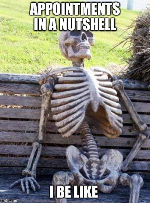 Waiting Skeleton Meme | APPOINTMENTS IN A NUTSHELL I BE LIKE | image tagged in memes,waiting skeleton | made w/ Imgflip meme maker