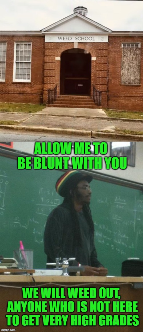 Ahh that first day at weed school. When the teachers are all strict before they start smoking. |  ALLOW ME TO BE BLUNT WITH YOU; WE WILL WEED OUT, ANYONE WHO IS NOT HERE TO GET VERY HIGH GRADES | image tagged in memes,rasta science teacher,weed,school,blunt,humour | made w/ Imgflip meme maker