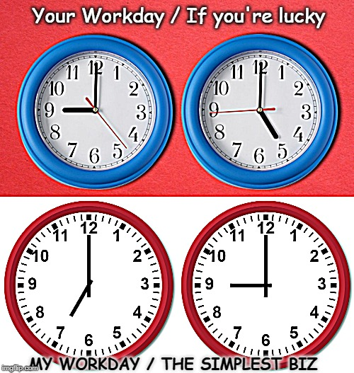 Your Workday / If you're lucky MY WORKDAY / THE SIMPLEST BIZ | image tagged in working for a living,hard work,working class | made w/ Imgflip meme maker