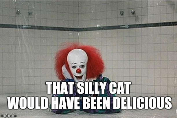 It Clown | THAT SILLY CAT WOULD HAVE BEEN DELICIOUS | image tagged in it clown | made w/ Imgflip meme maker