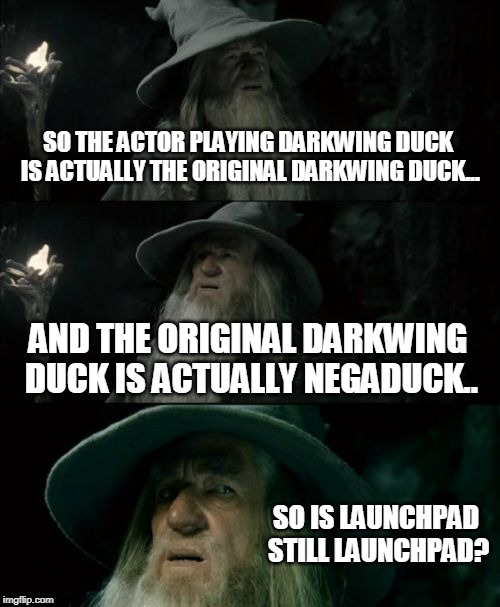 Confused Gandalf | SO THE ACTOR PLAYING DARKWING DUCK IS ACTUALLY THE ORIGINAL DARKWING DUCK... AND THE ORIGINAL DARKWING DUCK IS ACTUALLY NEGADUCK.. SO IS LAU | image tagged in memes,confused gandalf | made w/ Imgflip meme maker