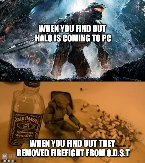 WHEN YOU FIND OUT HALO IS COMING TO PC WHEN YOU FIND OUT THEY REMOVED FIREFIGHT FROM O.D.S.T | image tagged in halo,computer | made w/ Imgflip meme maker