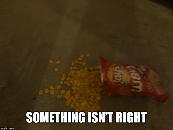 Make this a cursed image | SOMETHING ISN'T RIGHT | image tagged in cursed image,memes,lays,goldfish,snack,chips | made w/ Imgflip meme maker