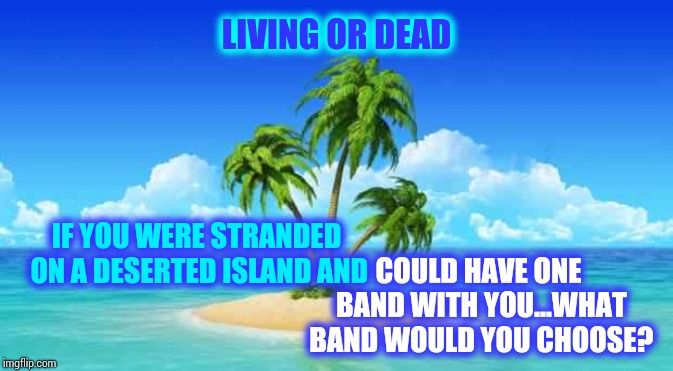 Journey With Perry Or The Eagles.  In The Mood To CHILL For My Birthday.  Been A Long Week | IF YOU WERE STRANDED ON A DESERTED ISLAND AND COULD HAVE ONE BAND WITH YOU...WHAT BAND WOULD YOU CHOOSE? LIVING OR DEAD | image tagged in desert island,bands,band,memes,musicians,rock and roll | made w/ Imgflip meme maker
