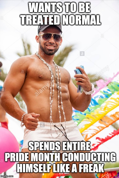 Gay douchebag | WANTS TO BE TREATED NORMAL SPENDS ENTIRE PRIDE MONTH CONDUCTING HIMSELF LIKE A FREAK | image tagged in gay douchebag | made w/ Imgflip meme maker