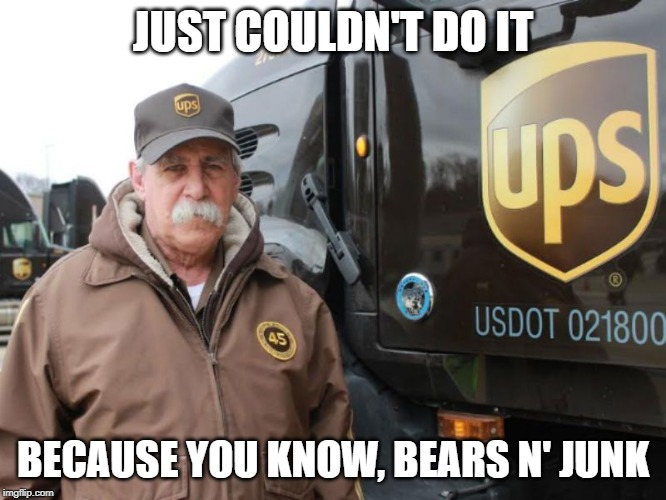 UPS driver | JUST COULDN'T DO IT BECAUSE YOU KNOW, BEARS N' JUNK | image tagged in ups driver | made w/ Imgflip meme maker