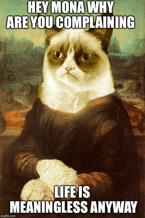 Grumpy Cat Mona Lisa | HEY MONA WHY ARE YOU COMPLAINING LIFE IS MEANINGLESS ANYWAY | image tagged in grumpy cat mona lisa | made w/ Imgflip meme maker