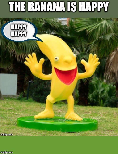 Happy Banana | THE BANANA IS HAPPY | image tagged in banana,happy | made w/ Imgflip meme maker