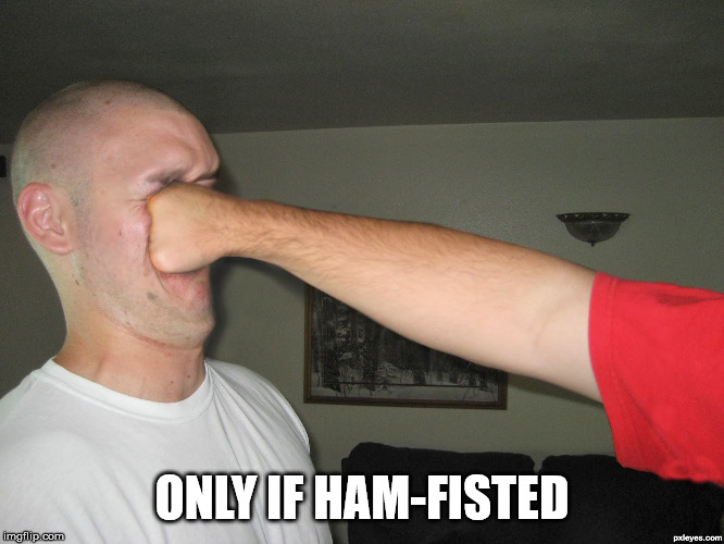 Face punch | ONLY IF HAM-FISTED | image tagged in face punch | made w/ Imgflip meme maker