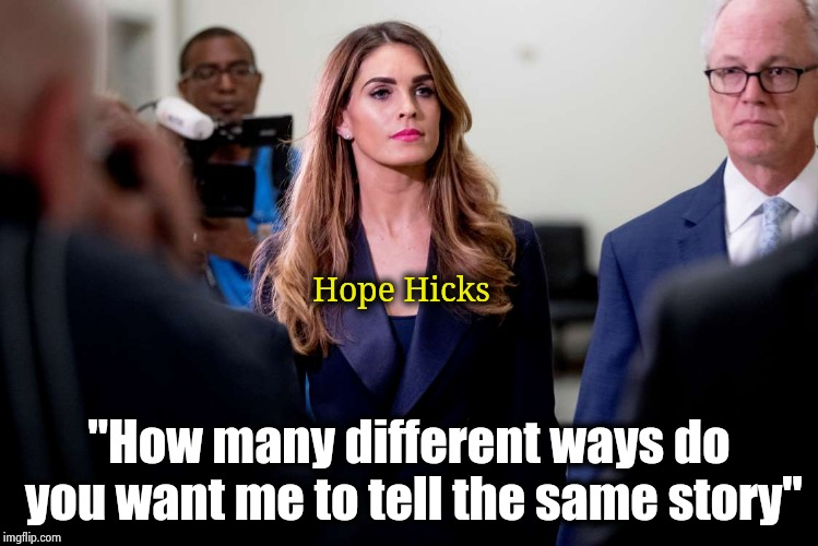 "This has nothing to do with the White House , it is her personal right not to say anything |  Hope Hicks; ""How many different ways do you want me to tell the same story"" 