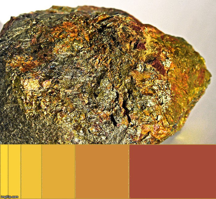 A rock covered in gold compared to the Golden Ratio.  #FFDA00 #FAD100 #F1C300 #E3AC00 #CC8700 #A74B00 | image tagged in gold,the golden ratio,rock,colors,the visible light spectrum,beauty | made w/ Imgflip meme maker