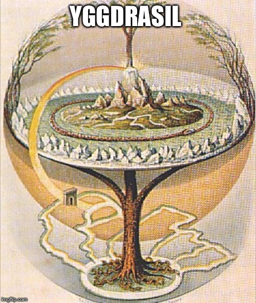 Yggdrasil | YGGDRASIL | image tagged in vikings,north,flat earth,no globe,planet,plane | made w/ Imgflip meme maker