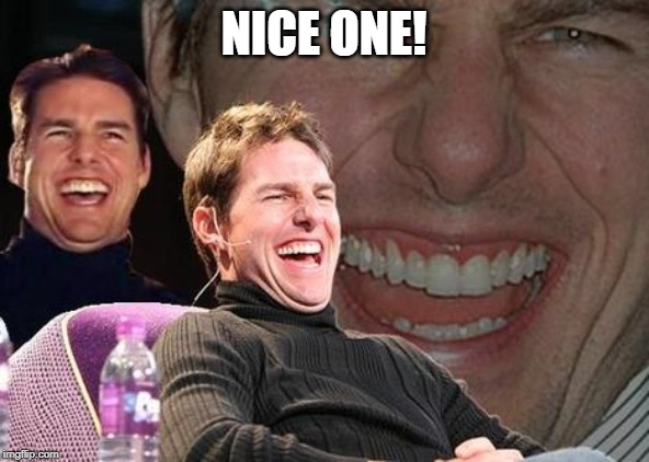 Tom Cruise laugh | NICE ONE! | image tagged in tom cruise laugh | made w/ Imgflip meme maker