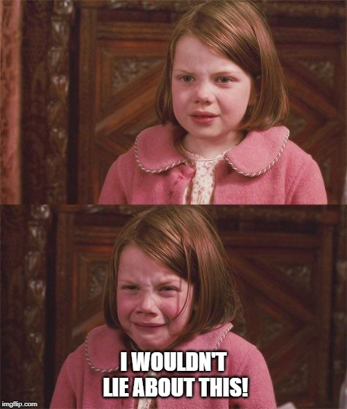 I wouldn't lie about this | I WOULDN'T LIE ABOUT THIS! | image tagged in the lion the witch and the wardrobe,lion witch wardrobe,narnia,lucy | made w/ Imgflip meme maker