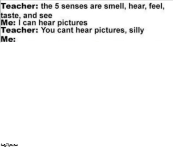 I can hear pictures | image tagged in teacher meme,teacher,pictures,five senses | made w/ Imgflip meme maker