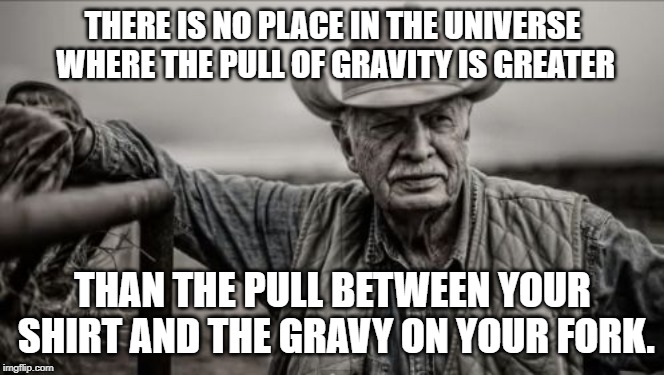 So God Made A Farmer | THERE IS NO PLACE IN THE UNIVERSE WHERE THE PULL OF GRAVITY IS GREATER THAN THE PULL BETWEEN YOUR SHIRT AND THE GRAVY ON YOUR FORK. | image tagged in memes,so god made a farmer | made w/ Imgflip meme maker