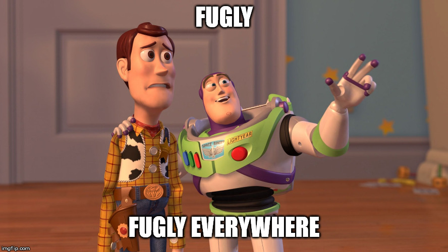 x x everywhere | FUGLY FUGLY EVERYWHERE | image tagged in x x everywhere | made w/ Imgflip meme maker