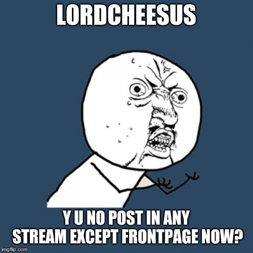 Y U No Meme | LORDCHEESUS Y U NO POST IN ANY STREAM EXCEPT FRONTPAGE NOW? | image tagged in memes,y u no | made w/ Imgflip meme maker