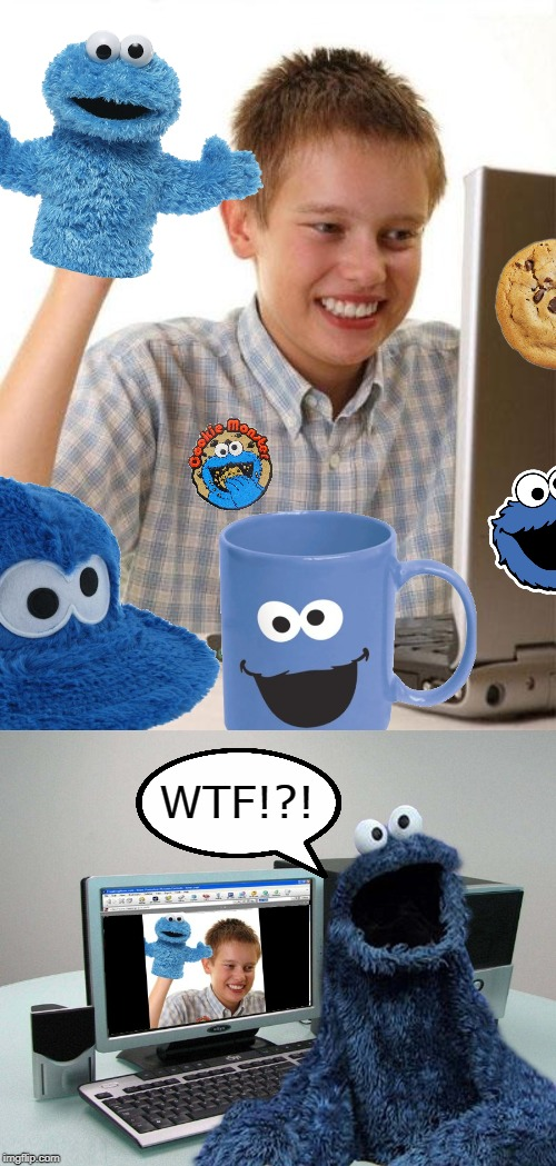 Cookie Monster Fanatic | WTF!?! | image tagged in memes,first day on the internet kid,cookie monster,fans,fan,cookies | made w/ Imgflip meme maker