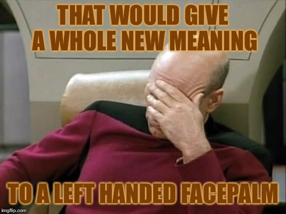 ashamed | THAT WOULD GIVE A WHOLE NEW MEANING TO A LEFT HANDED FACEPALM | image tagged in ashamed | made w/ Imgflip meme maker