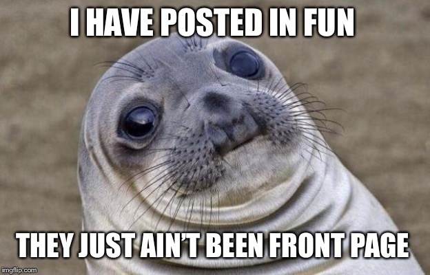 Awkward Moment Sealion Meme | I HAVE POSTED IN FUN THEY JUST AIN'T BEEN FRONT PAGE | image tagged in memes,awkward moment sealion | made w/ Imgflip meme maker