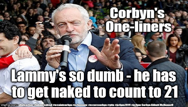 Corbyn's One-liners | Lammy's so dumb - he has to get naked to count to 21 | image tagged in cultofcorbyn,labourisdead,gtto jc4pmnow jc4pm2019,funny,david lammy jokes,anti-semite and a racist | made w/ Imgflip meme maker