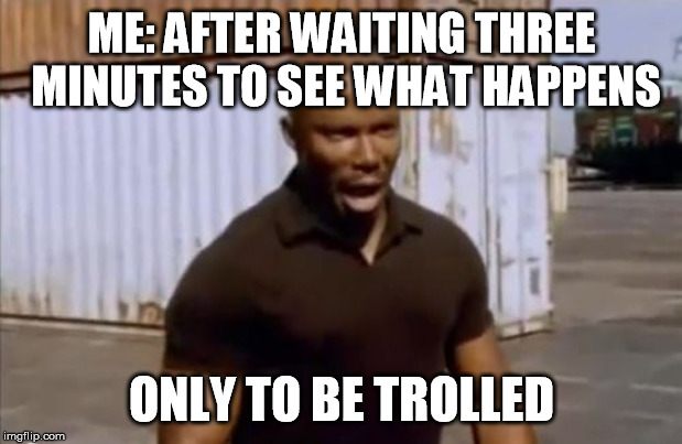 ME: AFTER WAITING THREE MINUTES TO SEE WHAT HAPPENS ONLY TO BE TROLLED | image tagged in surprise motherfucker | made w/ Imgflip meme maker
