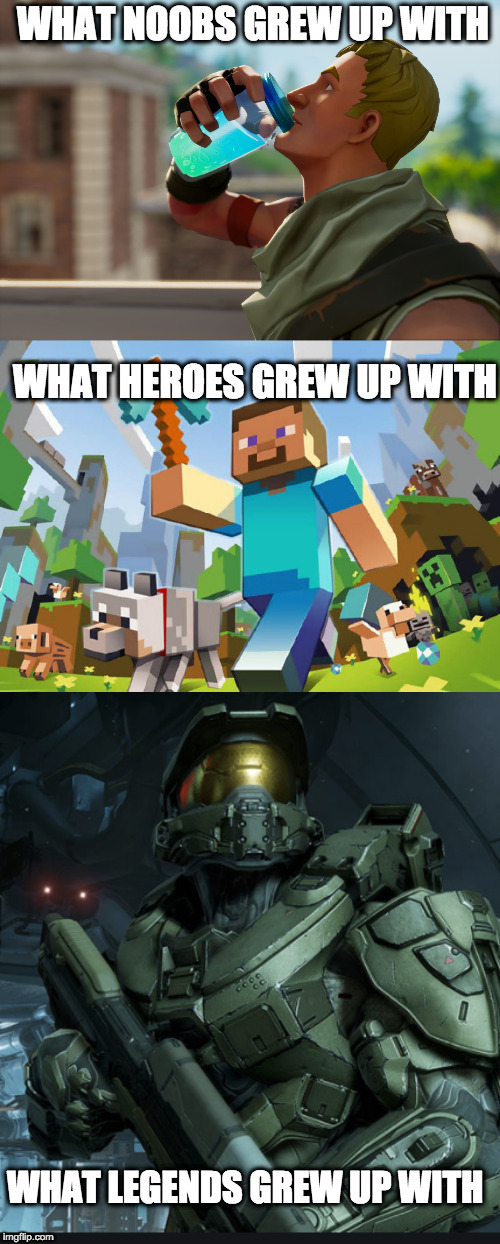 21st century memes | WHAT NOOBS GREW UP WITH WHAT HEROES GREW UP WITH WHAT LEGENDS GREW UP WITH | image tagged in fortnite the frog | made w/ Imgflip meme maker