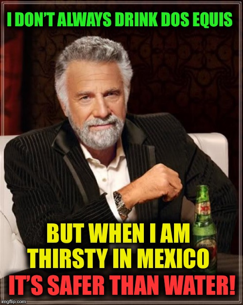 Don't eat the ice cubes either! | I DON'T ALWAYS DRINK DOS EQUIS BUT WHEN I AM THIRSTY IN MEXICO IT'S SAFER THAN WATER! | image tagged in memes,the most interesting man in the world,mexico,beer,water,trump wall | made w/ Imgflip meme maker