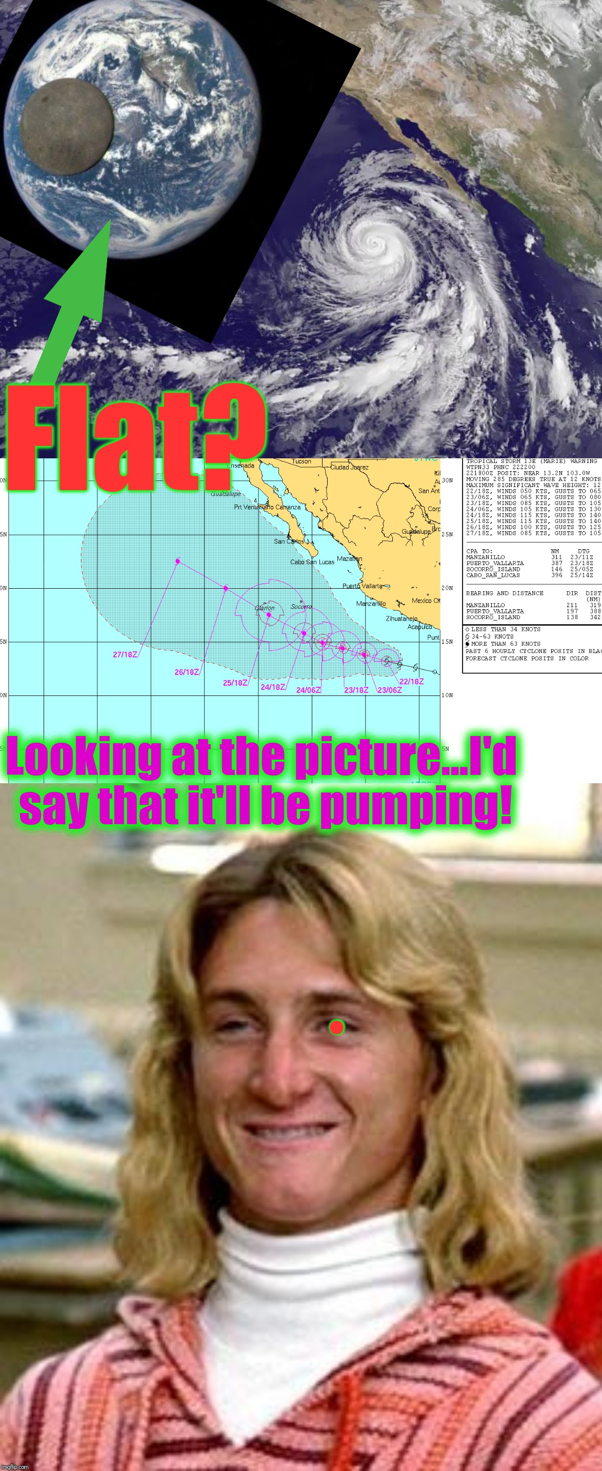 Flat? Looking at the picture...I'd say that it'll be pumping! . | made w/ Imgflip meme maker