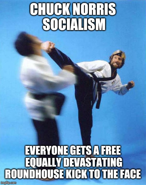 Roundhouse Kick Chuck Norris | CHUCK NORRIS SOCIALISM EVERYONE GETS A FREE EQUALLY DEVASTATING ROUNDHOUSE KICK TO THE FACE | image tagged in roundhouse kick chuck norris | made w/ Imgflip meme maker