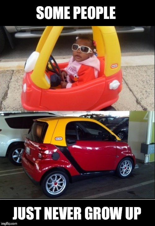 Started from the bottom,  now we're here. |  SOME PEOPLE; JUST NEVER GROW UP | image tagged in smart car,toy | made w/ Imgflip meme maker