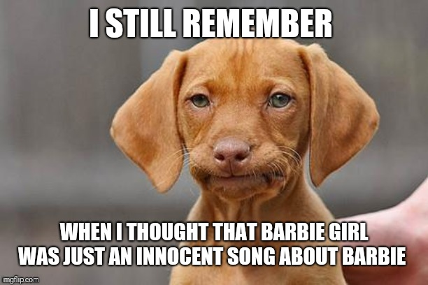 Dissapointed puppy | I STILL REMEMBER WHEN I THOUGHT THAT BARBIE GIRL WAS JUST AN INNOCENT SONG ABOUT BARBIE | image tagged in dissapointed puppy | made w/ Imgflip meme maker