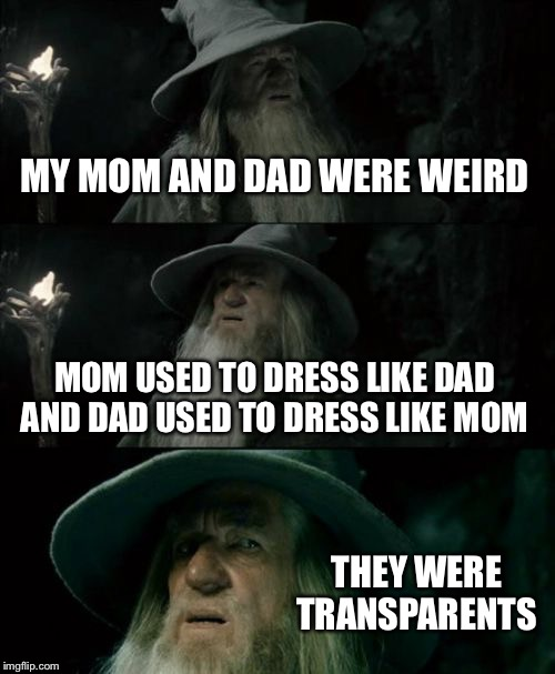 Confused Gandalf Meme | MY MOM AND DAD WERE WEIRD MOM USED TO DRESS LIKE DAD AND DAD USED TO DRESS LIKE MOM THEY WERE TRANSPARENTS | image tagged in memes,confused gandalf | made w/ Imgflip meme maker