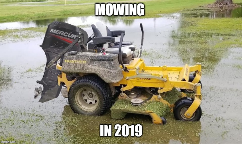 TRUE |  MOWING; IN 2019 | image tagged in rain mower,2019,rain | made w/ Imgflip meme maker