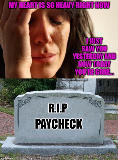 Gone too soon...the struggle is real. |  MY HEART IS SO HEAVY RIGHT NOW; I JUST SAW YOU YESTERDAY AND NOW TODAY YOU'RE GONE... R.I.P; PAYCHECK | image tagged in memes,first world problems,tombstone,funny,gone too soon,rip | made w/ Imgflip meme maker