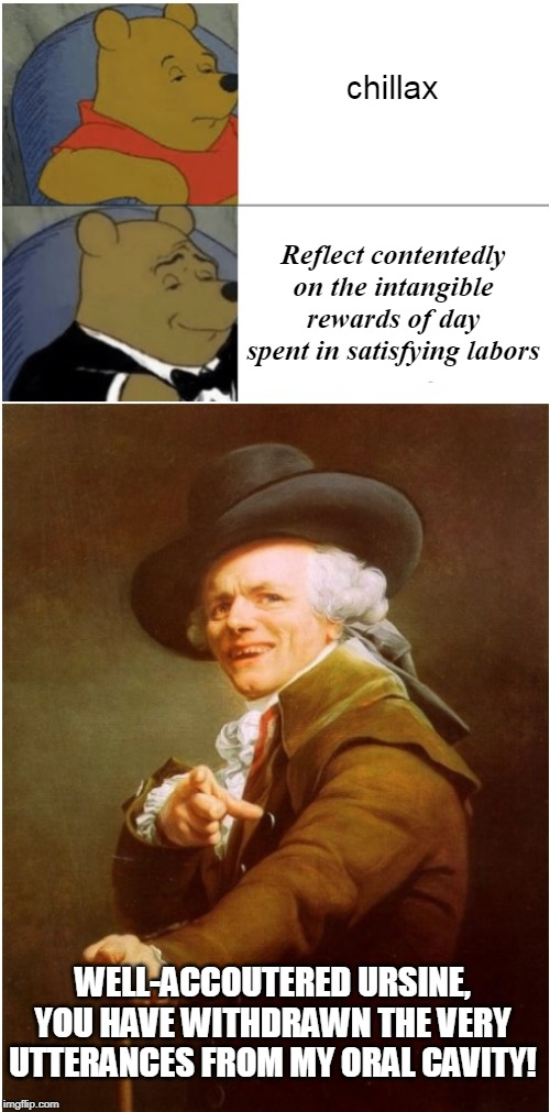 Tuxedo Pooh... Joseph's brother from another mother? | chillax Reflect contentedly on the intangible rewards of day spent in satisfying labors WELL-ACCOUTERED URSINE, YOU HAVE WITHDRAWN THE VERY  | image tagged in tuxedo winnie the pooh,joseph ducreux,memes | made w/ Imgflip meme maker