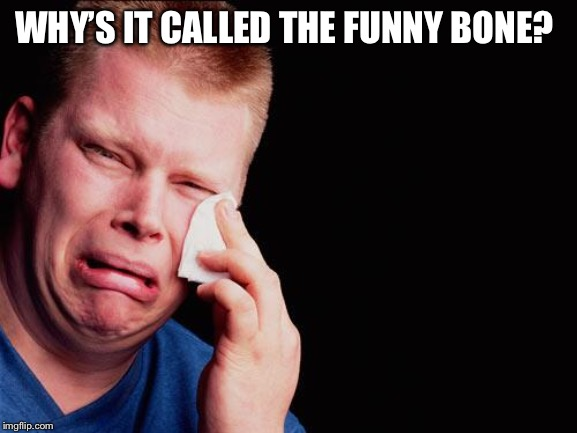 tissue crying man | WHY'S IT CALLED THE FUNNY BONE? | image tagged in tissue crying man | made w/ Imgflip meme maker