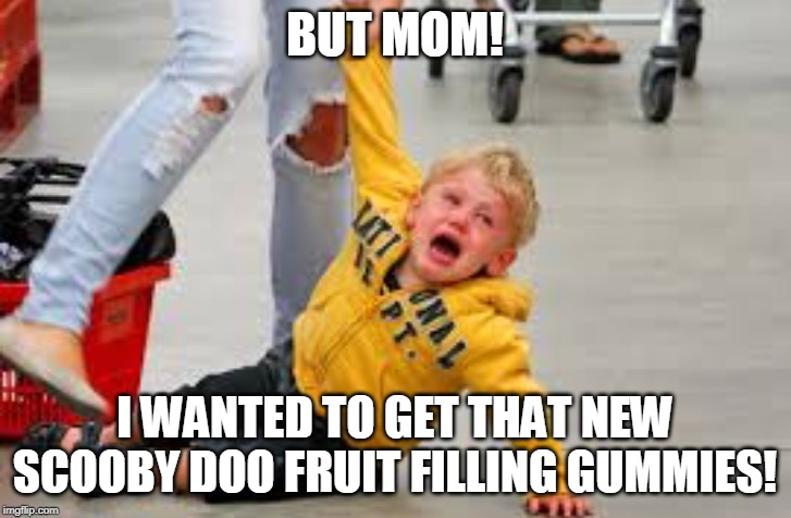 Tantrum store | BUT MOM! I WANTED TO GET THAT NEW SCOOBY DOO FRUIT FILLING GUMMIES! | image tagged in tantrum store | made w/ Imgflip meme maker