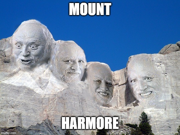 Mount Rushmore | MOUNT HARMORE | image tagged in hide the pain harold,mount rushmore,mt rushmore,memes,funny,harold | made w/ Imgflip meme maker