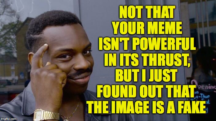 Roll Safe Think About It Meme | NOT THAT YOUR MEME ISN'T POWERFUL IN ITS THRUST, BUT I JUST FOUND OUT THAT THE IMAGE IS A FAKE | image tagged in memes,roll safe think about it | made w/ Imgflip meme maker