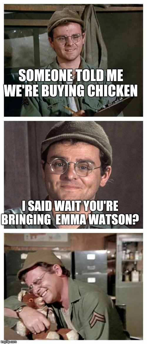 Should be explanitory why it's Emma Watson | SOMEONE TOLD ME WE'RE BUYING CHICKEN I SAID WAIT YOU'RE BRINGING  EMMA WATSON? | image tagged in bad pun radar,emma watson,flat chest,insults,roasted | made w/ Imgflip meme maker
