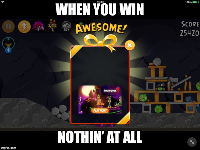 I wasn't bothered to post this on r/softwaregore | WHEN YOU WIN NOTHIN' AT ALL | image tagged in nothing | made w/ Imgflip meme maker