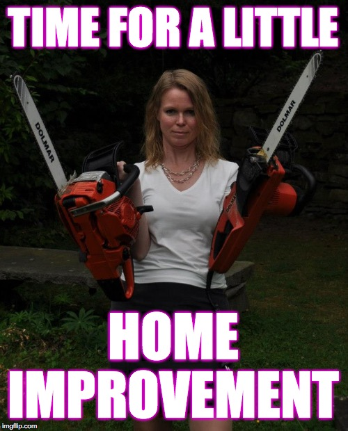 Chainsaw Chick | TIME FOR A LITTLE HOME IMPROVEMENT | image tagged in chainsaw chick | made w/ Imgflip meme maker