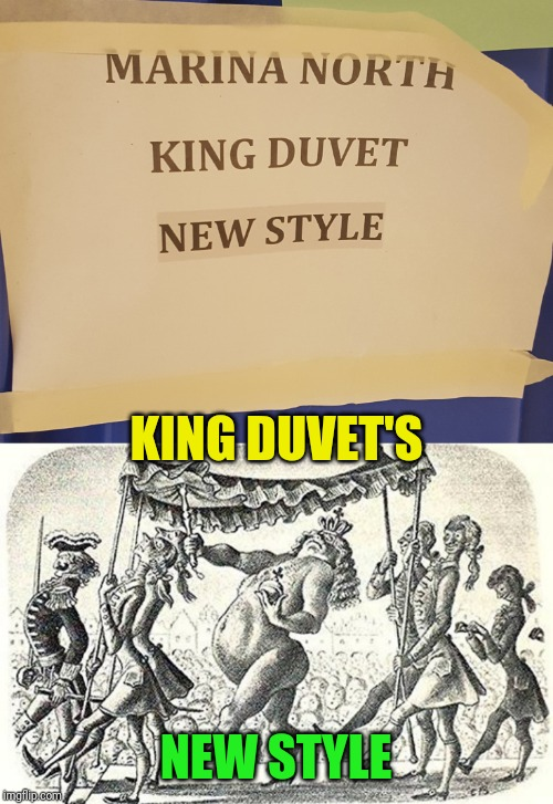 The things I think of working in a hotel | KING DUVET'S NEW STYLE | image tagged in hotel,emperor's new clothes,laundry,kermit the frog,signs | made w/ Imgflip meme maker