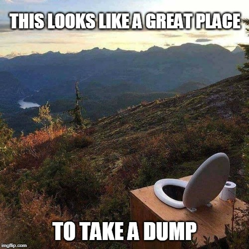 OUTHOUSE? NO. | THIS LOOKS LIKE A GREAT PLACE TO TAKE A DUMP | image tagged in toilet mountain,outhouse,toilet | made w/ Imgflip meme maker